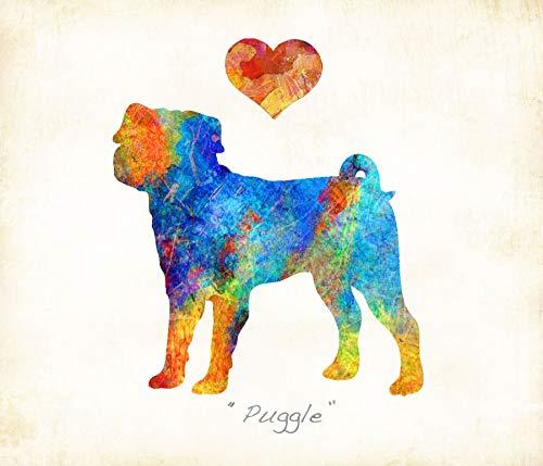 (Puggle Dog Breed Watercolor Art Print by Dan Morris )