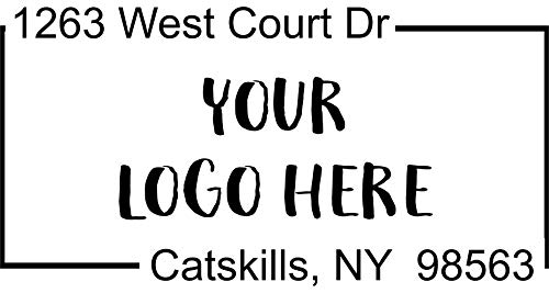 Custom Square Logo Address Stamp - Self-Inking Stamper - Rubber Personalized Stamp - Business Stamps