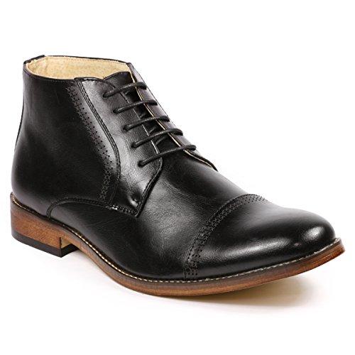 Metrocharm MC115 Men's Lace Up Cap Toe Dress Ankle Chukka Boots (9.5, Black)