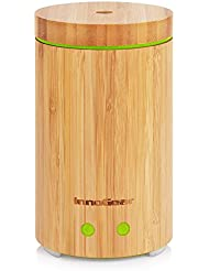 InnoGear Real Bamboo Essential Oil Diffuser Ultrasonic Aromatherapy Diffusers with 14 LED Colorful Lights and Waterless Auto Shut-off
