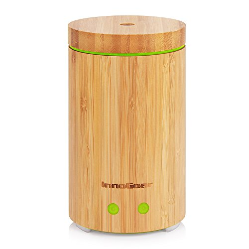Real Bamboo Essential Oil Diffuser Ultrasonic with 7 LED Colorful Lights and Waterless Auto Shut-off