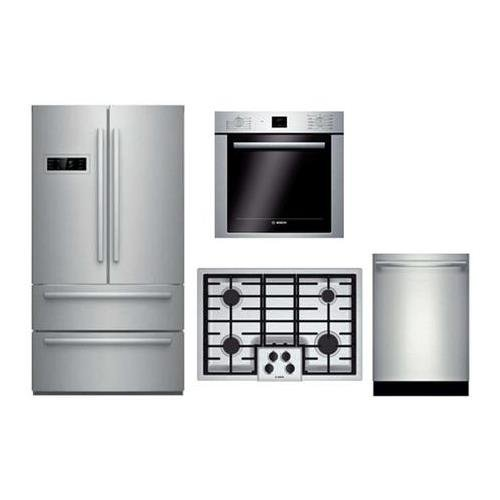 Bosch 4 Piece Stainless Steel Kitchen Package With B21CL80SNS 36″ French Door Refrigerator, NGM5055UC 30″ Gas Cooktop, HBE5451UC 24″ Single Wall Oven and SHXN8U55UC 24″ Built In Dishwasher