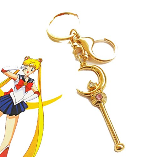 Touirch Anime Sailor Moon Golden Key Chain Pendant Cosplay Accessories Toy - Key Moon