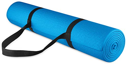 "BalanceFrom GoYoga All Purpose High Density Non-Slip Exercise Yoga Mat with Carrying Strap, 1/4"", Blue"