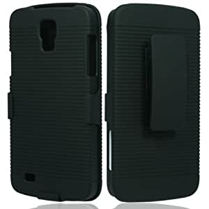 Bloutina Rubberized Plastic Black Hard Cover Snap On Case W/ Belt Clip Holster Stand For Samsung Galaxy S4 IV Active i537...