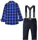 Baby Toddler Boy's Tuxedo Outfits Set, Plaid Button