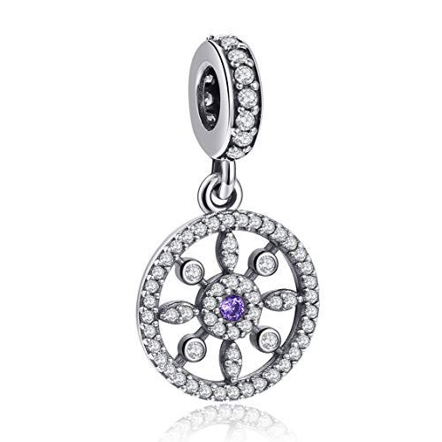 Angemiel 925 Sterling Silver Charms Bead Pendant for Snake Chain Bracelets Necklace, Lucky Charms Inlaid with 5A Cubic Zirconias from Angemiel