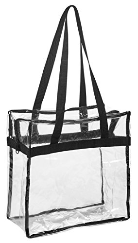 Clear Tote Bag NFL Stadium Approved – 12″ X 12″ X 6″ – Shoulder straps and zippered top. The clear bag is perfect for work, school, sports games and concerts. Meets NFL and PGA Tournament guidelines.