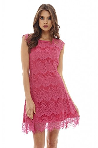 AX Paris Women's Capped Sleeve Crocheted Lace Dress(Pink, Size:10)