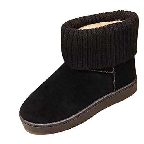 Gaorui women classic suede snow boots fur lined ankle boots winter flat warm boots Black 9SAm78b