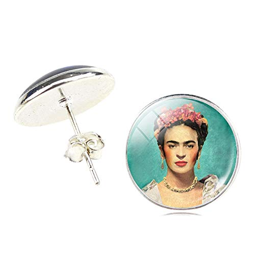 Aristory Frida Kahlo Self-portrait Earrings Frida Kahlo Stud Earrings Mandala Women Flower Beautiful Realistic Art Photo Glass Cabochon Style Jewlery, 1 Pair(H06)