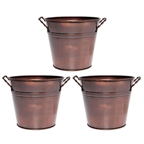 (Hosley's 3 Pack of Antique Bronze Metal Planters - 5