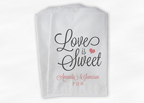 Love Is Sweet Wedding Favor Bags for Candy Buffet in Pink and Gray - Personalized Set of 25 Paper Bags (0168)