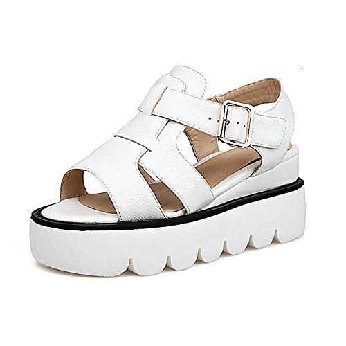 Solki Naisten Kiinteä Voguezone009 Pentu Auki Pehmeää Valkoinen Sandaalit kannoilla Materiaalia vHnqCYw