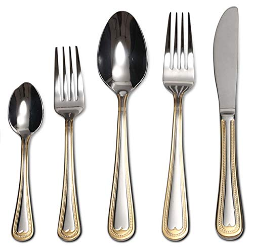 (Flatware Set 20-Piece Service for 4, 18/10 Stainless Steel Silverware Cutlery, 24k Gold Plated Accent (gold sets) (Gold Beads))