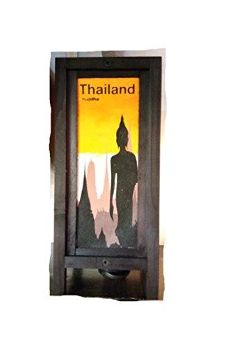 Thai Vintage Handmade Asian Oriental Prime Buddha Bedside Table Light or Floor Wood Paper Lamp Shades Home Bedroom Garden Decor Modern Design from Thailand