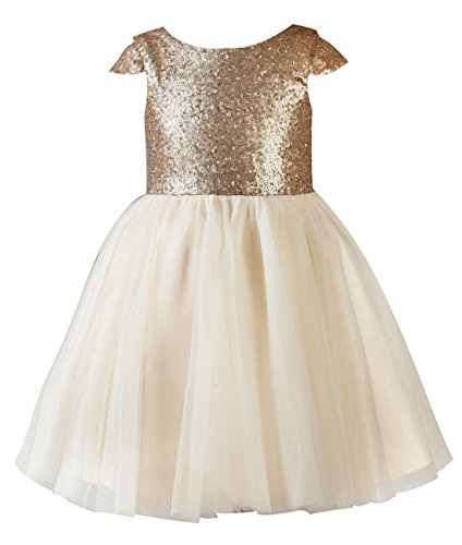Princhar Sequin Tulle Short Girl Dress Little Girls Party Toddler Dress US 5T Champagne (Christmas Pageant Dresses)