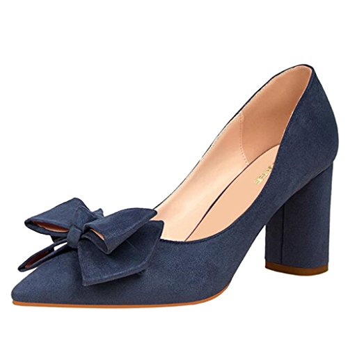Binying Women's Pointed Toe Shallow Mouth Suede Bowknot Thick-Heel Pumps Blue IaAxMI3gXq