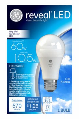 - G E Lighting 45656 Reveal LED Light Bulb, 570 Lumens, 11-Watts - Quantity 3