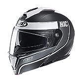 HJC Helmets Unisex-Adult Flip-Up i90 Modular Helmet, Davan (Black/Grey/White, X-Large)