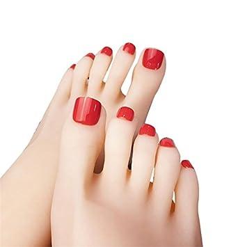 Amazon.com : 24Pcs Short Square False Toe Nails Solid Color Feet ...