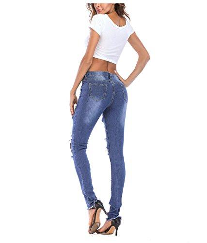 con skinny patchwork Pantaloni FuweiEncore Blu da a con donna alta jeans vita a con skinny fori vita cerniera alta cerniera Pantaloni Jeans estivi donna Jeans 18Yw8q