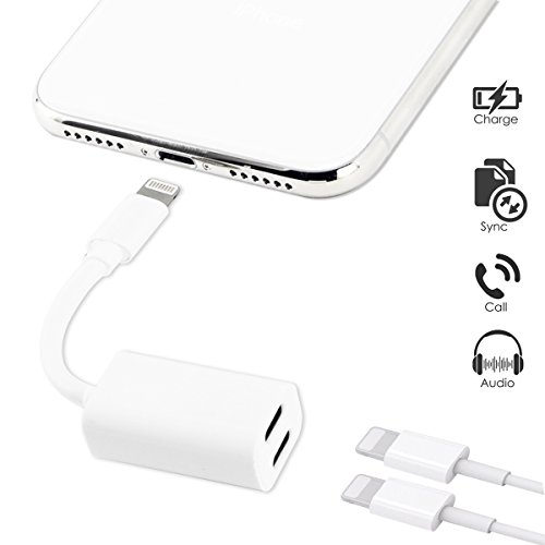 TOP CASE - Dual Lightning Headphone Audio & Charge Adapter Compatible with iPhone X/8/8 Plus/7/7 Plus and iPad Pro,Air Adapter & Splitter, iOS 10 or Later (White) (Ipad Air Top Case)
