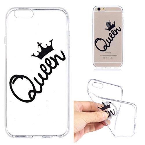 iPhone 6 6S Custodia , Leiai Moda Queen Trasparente Silicone Morbido TPU Cover Case Custodia per Apple iPhone 6 6S