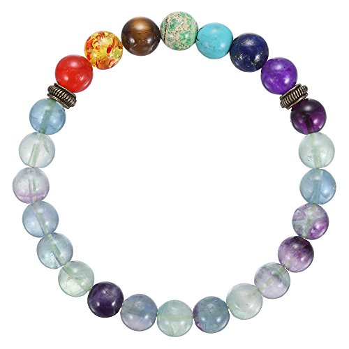 BRCbeads Gemstone Bracelets Fluorite Rainbow Enhance Color Natural Birthstone Handmade Healing Power Crystal Beads Elastic Stretch 8mm 7.5 Inch with Gift Box Unisex (Bead Bracelet Rainbow)