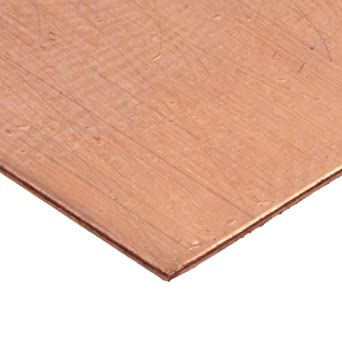 """110 Copper Sheet Sample Pack, Unpolished (Mill) Finish, H02 Temper, ASTM B370, Varying Thicknesses, 4"""" Width, 4"""" Length"""