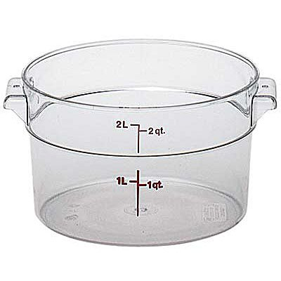 2 Quart Round Storage Container - Cambro RFSCW2135 Camwear Round Food Storage Container, 2 Quart, Clear