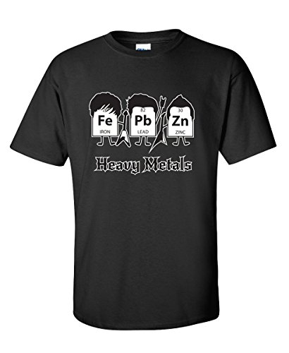 Feelin Good Tees Heavy Metals Periodic Table Science Graphic Band Music Cool Very Funny T Shirt XL Black1 (Metal Band T-shirt)