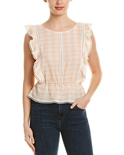 BB Dakota Women's Lisanne Gingham Ruffle Top, Salmon, Medium ()