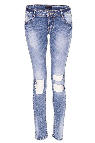 NOROZE Croissance moyenne dchirer toile de jean Jeans Pantalon pour Femme Bleu M1070