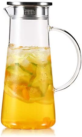 Glass Pitcher with lid Hot//Cold Water Carafe Juice Jar and Iced Tea Pitcher 5...