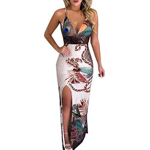 Rambling Fashion New Women's Casual Peacock Feather Print Thigh Slit Slip Dress