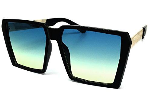 O2 Eyewear 7293 Premium Oversized XXL Unique Shield Vintage Square Metal Leg Flat Top Tint Sunglasses (XXL, - In That Sun Tint The Glasses