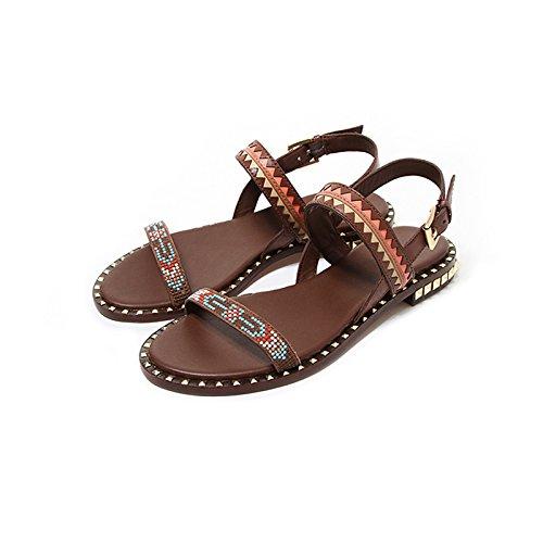 del EU Bohemio Romanos 5 De Zapatos US Estilo Sandalias 38 Brown JP Plano Color Playa Marrón JIANXIN De 7 Cinta 24 Remache 5cm Tamaño Vacaciones Verano UK Nacional Femenino Y5xnHSZ