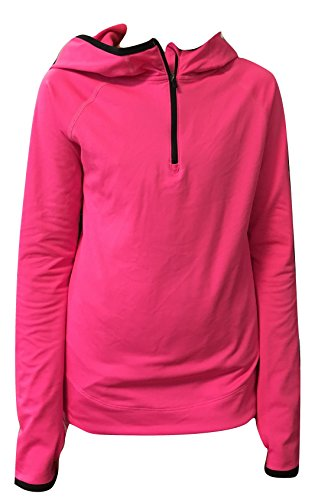 Half Zip Pullover Hooded Jacket (Nike Girl's Half Zip Training Pull Over Sweatshirts Jacket Hoodie 839182 (L, Pink))