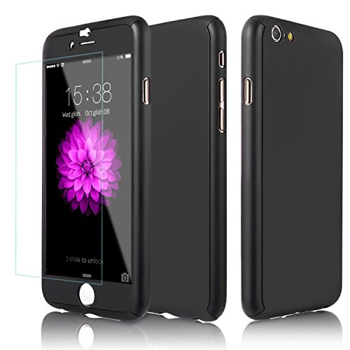 360° Full Hybrid Tempered Glass + Acrylic Hard Case Cover For iPhone 6 & 6S Plus (Black-iPhone 6) ()