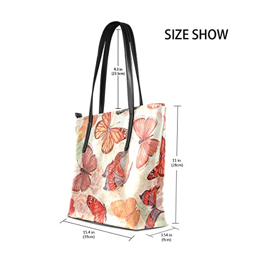 For Purse Women And Coosun Bag Tote Handbags Flying Butterflies Pattern The Pu Leather Muticolour Means Bag a47q8wax