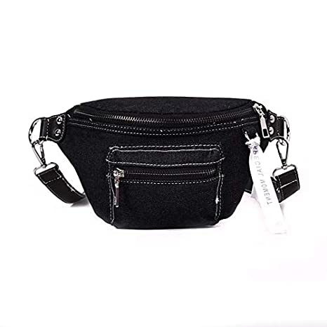 f2bf937653a8 Amazon.com : HAOLIEQUAN Waist Pack Fashion New Denim Women Waist Bag ...