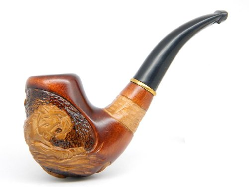DrWatson-Tobacco-Smoking-Pipe-Lion-on-Tree-Hand-Carved-Pear-Wood-9mm-filter-Branded-Pouch