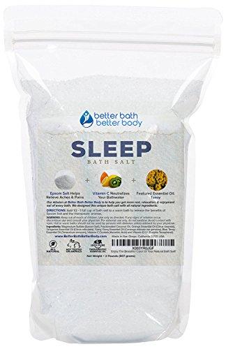 Sleep Bath Salt 32oz (2-Lbs) - Epsom Salt Bath Soak With Tansy Essential Oils & Vitamin C - All Natural, No Perfumes No Dyes - Get A Better Night's Sleep Naturally With This Epsom Bath Soak