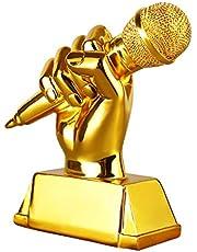 Sculpture Trofeeën Gouden microfoon trofee zingen concurrentie trofee kampioen gastheer trofee woonkamer wijnkast decoratie handgemaakt, hars materiaal (Kleur: Goud, Maat: 13 * 4,5 * 13cm)