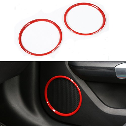 For Ford Mustang 2015-2017 ABS Car Door Speaker Decoration Ring Frame Cover Circle Sticker Decal Decor Trim (red) -