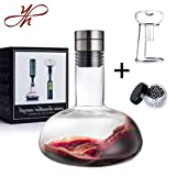 YouYah Wine Decanter Set,Wine Breather Carafe with Drying Stand,Steel...