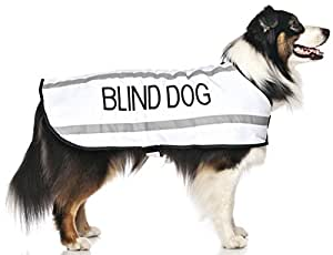 """BLIND DOG White Alert Warning Warm Dog Coats S-M M-L L-XL Waterproof Reflective Fleece Lined (No/Limited Sight) Prevents Accidents By Warning Others of Your Dog in Advance (L-XL Back 23"""" (59cm)"""