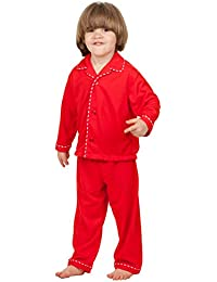 Little Boys' Red Christmas Pajamas with Piping