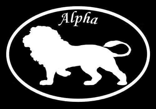 Alpha Lion Decal Vinyl Sticker|Cars Trucks Vans Walls Laptop| White |5.5 x 3.5 in|LLI179